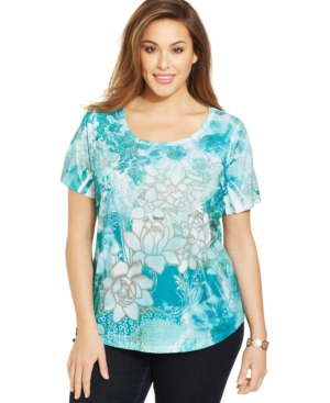 Style & co. Plus Size Printed Rhinestone-Embellished Top