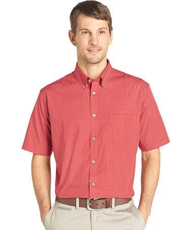 Van heusen no iron grid short sleeve shirt casual button for Van heusen iron free shirts