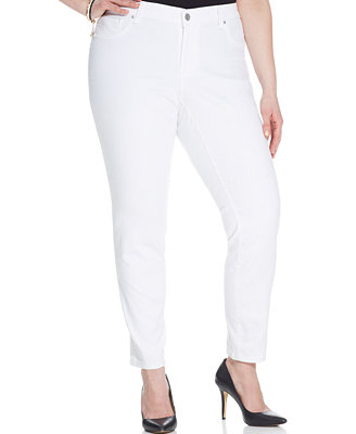Jessica Simpson Plus Size Kiss Me Super Skinny Jeans, White Wash