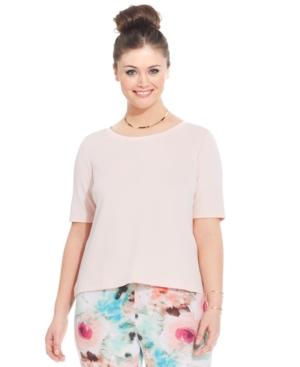 ModaMix Plus Size Short-Sleeve Scuba Top