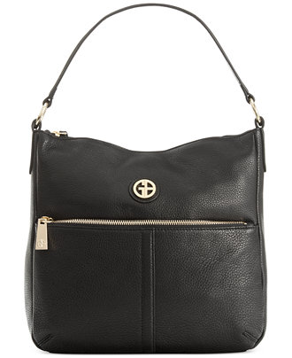 Giani Bernini Pebble Leather Zipper Hobo