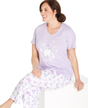 Charter Club Plus Size Grandma Watering Can Top and Butterfly Pant Pajama Pants Set