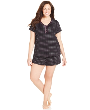 Charter Club Plus Size Short Sleeve Top and Boxer Short Set