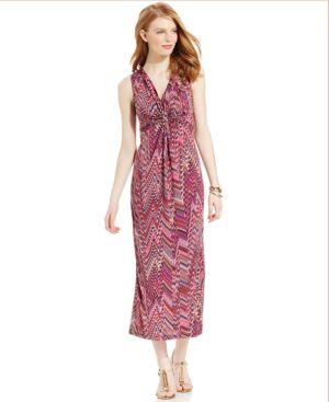 Ny Collection Petite Draped Multi-Print Maxi Dress