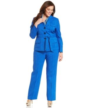 Le Suit Plus Size Scarf Belted Pantsuit