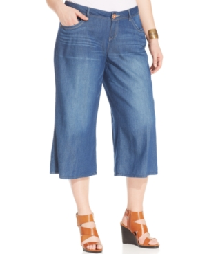 American Rag Plus Size Denim Gauchos, Indigo Wash