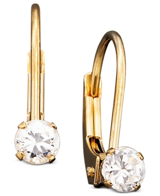 Children's 14k Gold Cubic Zirconia Earrings