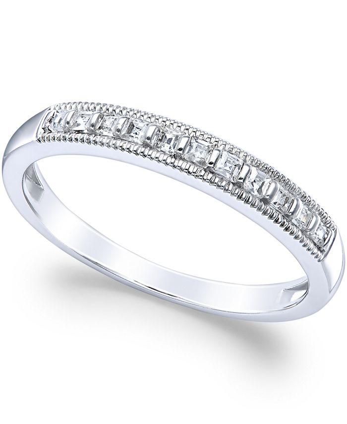 Macy's - Diamond Milgrain Ring in 14k White Gold (1/4 ct. t.w.)