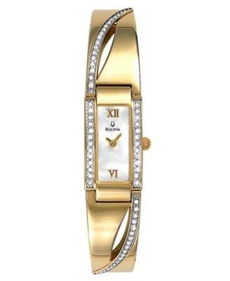 Bulova Women's Crystal Accents Bangle Bracelet