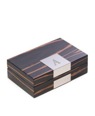 Bey-Berk Monogrammed Lacquered Ebony Burl Wood Valet Box