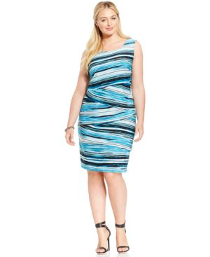 Connected Plus Size Sleeveless Tiered Shift Dress