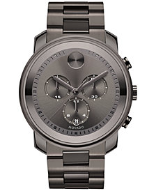 Movado Men's Swiss Chronograph Bold Gunmetal Ion-Plated Stainless Steel Bracelet Watch 44mm 3600277