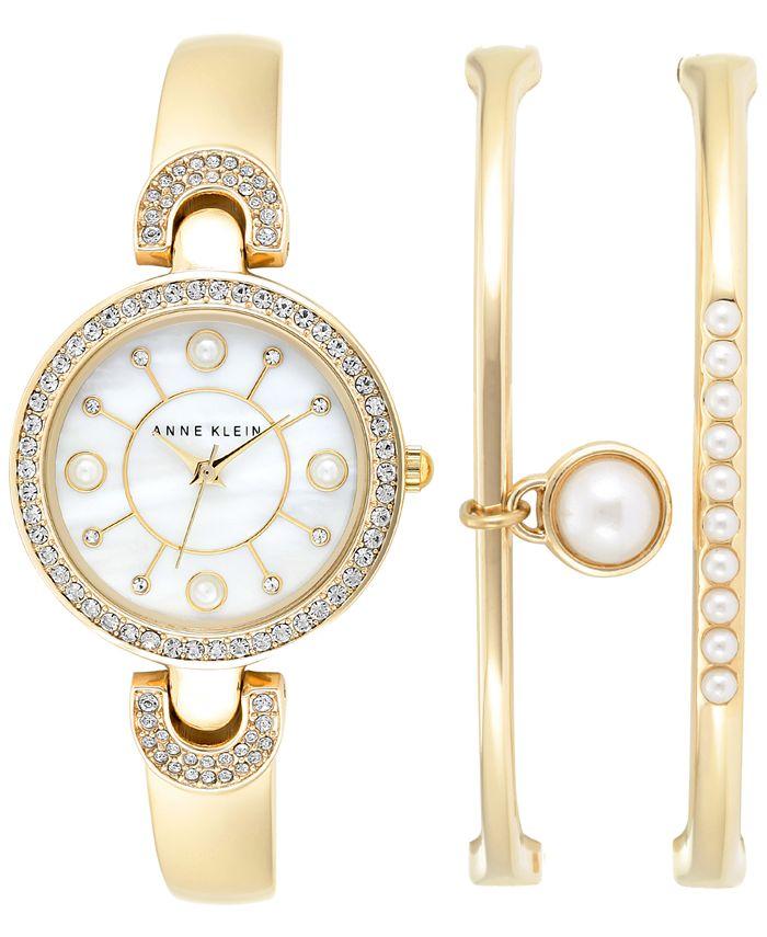Anne Klein - Women's Imitation Pearl Gold-Tone Bangle Bracelets and Watch Set 30mm AK-1960GBST
