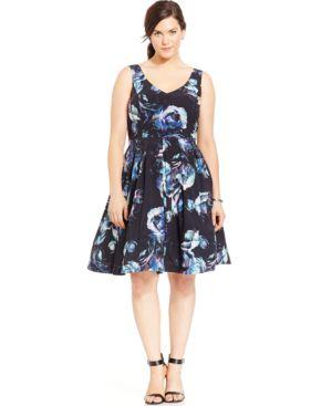 City Chic Plus Size V-Neck Floral-Print A-Line Dress