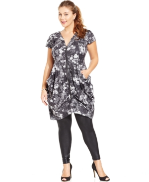 City Chic Plus Size Zip-Front Printed Tunic Top