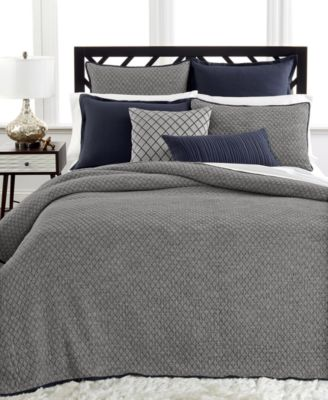 Hotel Collection Linen Navy Quilted King Coverlet
