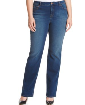 Style & Co. Plus Size Tummy-Control Rhinestone Straight-Leg Jeans, Astor Wash
