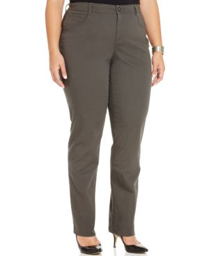 Style & Co. Plus Size Tummy-Control Straight-Leg Jeans, Graphite Grey Wash