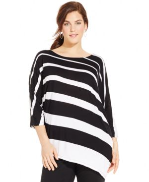 INC International Concepts Plus Size Striped Asymmetrical-Hem Tunic Top