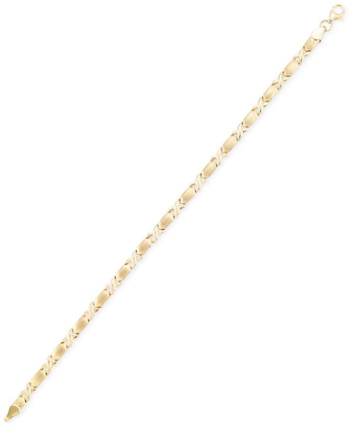 Italian Gold Satin Finish XO Bracelet in 10k Gold & Reviews - Bracelets - Jewelry & Watches - Macy's