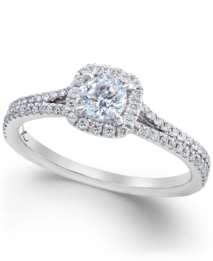 X3 Certified Diamond Halo Engagement Ring in 18k White Gold (3/4 ct. t.w.)