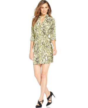 Alfani Printed Zip-Front Utility Dress