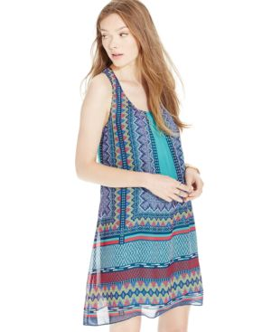 Sequin Hearts Juniors' Printed High-Low Shift Dress