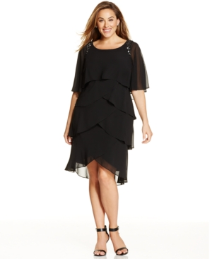 Sl Fashions Plus Size Beaded Tiered Shift Dress $74.01 AT vintagedancer.com