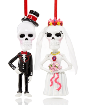 Holiday Lane Set of 2 Day of the Dead Skeleton Wedding Ornaments, Only at Macy's