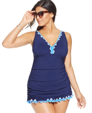 Profile by Gottex Plus Size Ruffled One-Piece Swimdress Womens Swimsuit $117.99 AT vintagedancer.com