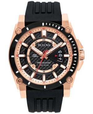 Bulova Men's Precisionist Black Silicone Strap Watch 47mm 98B152