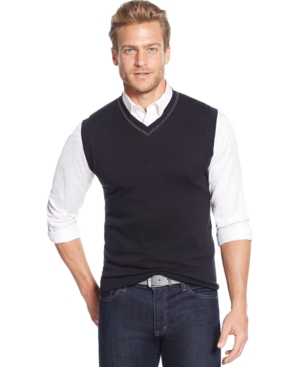 Tasso Elba Big and Tall Solid Sweater Vest Only at Macys $32.99 AT vintagedancer.com