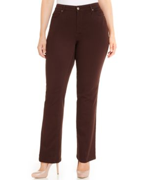 Charter Club Plus Size Tummy-Control Straight-Leg Jeans, Rich Truffle Wash, Only at Macy's