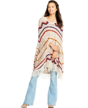 American Rag Chevrons & Stripes Hooded Sweater Poncho, Only at Macy's