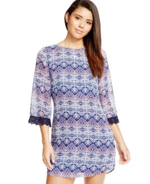 Speechless Juniors' Printed Crochet-Trim V-Back Shift Dress