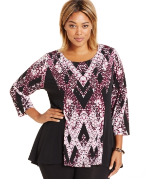 Style & co. Plus Size Embellished Ikat-Print Top, Only at Macy's