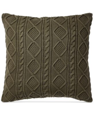 """Ralph Lauren Judson Olive 20"""" Square Cable-Knit Throw Pillow"""