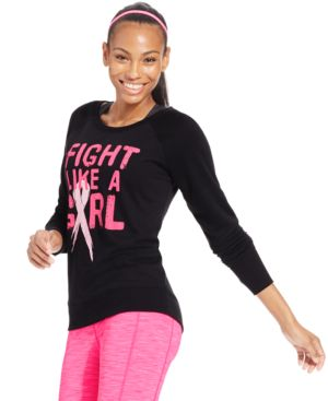 Ideology Fight Like A Girl Pink Ribbon Top, Only at Macy's