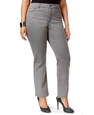 Charter Club Plus Size Straight-Leg Jeans, Canyon Gray Wash, Only at Macy's