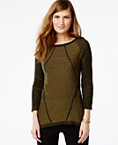 Cable & Gauge Pleated-Sleeve High-Low Sweater