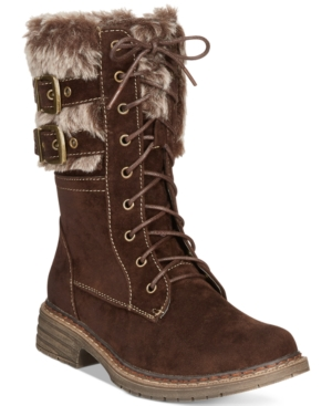 Wanted Pilsner Lace-Up Faux-Fur Booties Women's Shoes