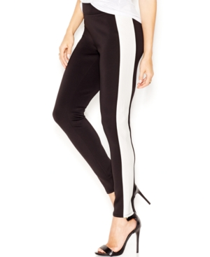 Bar Iii Contrast Faux-Leather-Panel Leggings Only at Macys $29.99 AT vintagedancer.com