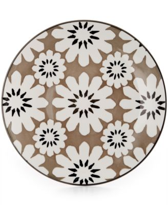 Certified International Chelsea Collection Porcelain Gray Floral Dessert Plate