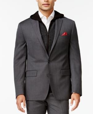 Ryan Seacrest Distinction Slim-Fit Gray Birdseye Jacket