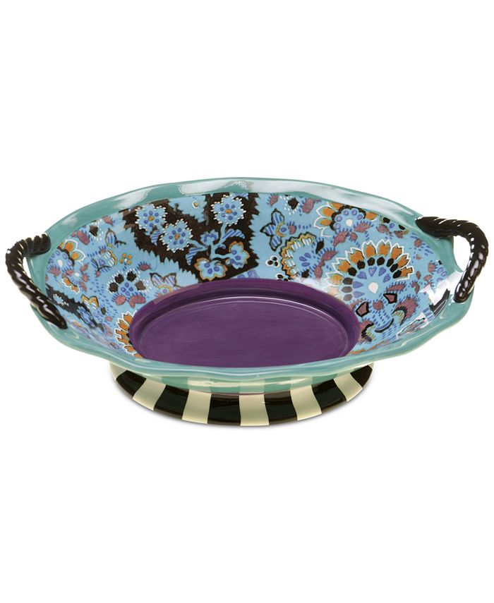Certified International - Rose Boheme Collection Earthenware Oval Handled Bowl