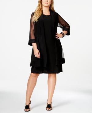R & M Richards Plus Size Embellished Cocktail Dress & Duster Jacket