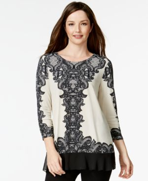 Style & Co. Ruffled Chiffon-Hem Tunic, Only at Macy's