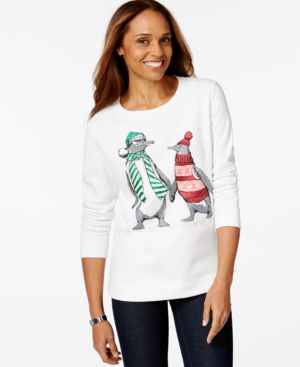 Karen Scott Sport Embellished Bundled Penguins Graphic Top, Only at Macy's