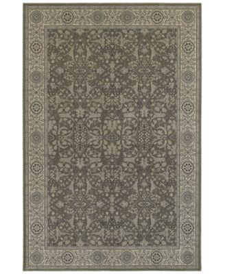 "Tidewater Floral Sarouk Grey/Ivory 3'10"" x 5'5"" Area Rug"
