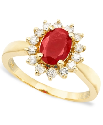 14k Gold Ruby (1-3/8 ct. t.w.) & Diamond (3/8 ct. t.w.) Ring - Gemstone Ring